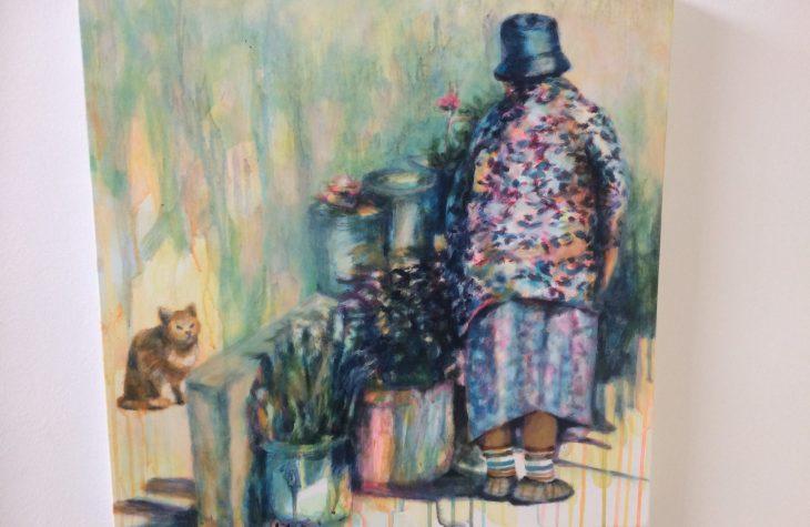 Alte Frau auf dem Balkon 2